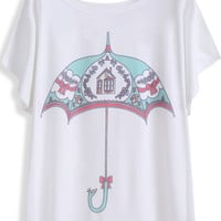 White Short Sleeve Umbrella Print Graphic T-Shirt