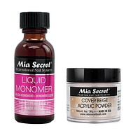 Mia Secret Acrylic Nail Powder Cover Beige + Liquid Monomer 1 oz Set - USA