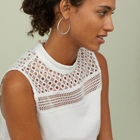 Top with Lace - White - Ladies | H&M US