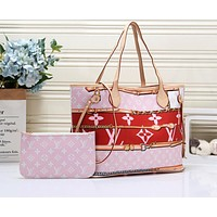 LV hot selling lady casual shoulder bag fashion printing and color matching two-piece shopping bag #1