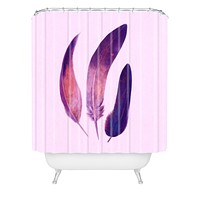 Terry Fan Purple Feathers Shower Curtain