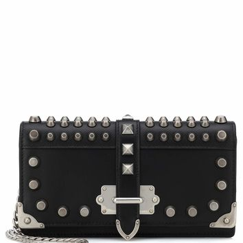 Embellished leather shoulder bag