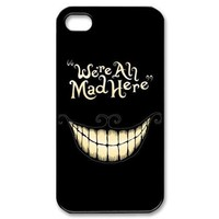 JIAXIUFEN We're All Mad Here Smile Face Hard Back Plastic Case Cover Skin Protector For Apple iPhone 5 5G 5S