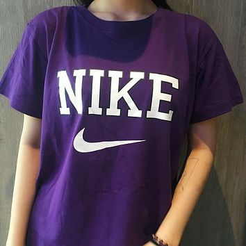Nike Retro Women Purple Short Sleeve T-shirt #2591
