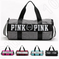Women Handbags VS Pink Large Capacity Travel Duffle Striped Waterproof Beach Bag Shoulder Bag 30pcs OOA781