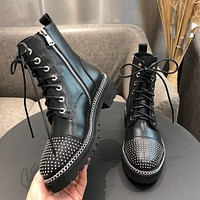 Alaxander Wang Trending Men Women's Black Leather Side Zip Lace-up Ankle Boots Shoes High Boots