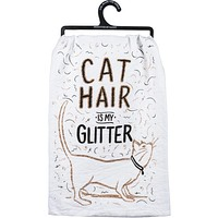 Cat Hair Is My Glitter Funny Snarky Dish Cloth Towel / Novelty Silly Tea Towels / Cute Hilarious Kitchen Hand Towel