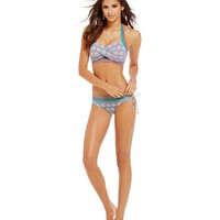 Cremieux Scallop-Print Cut-Out Halter Top & Scallop-Print Tunnel Tie Bottom | Dillards