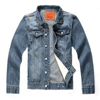 Men's Washed Casual Slim Label Denim Jeans Jacket Outwear