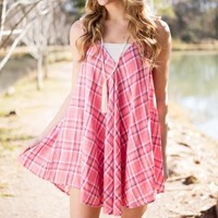 Pink and You Miss It Pink Plaid Dress