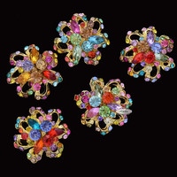 5pcs Multi Color Metal Flatback Embellishment Buttons Brooches Bridal Wedding invitations bouquets hair clips