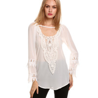 White Chiffon Lace Long Sleeve Shirt