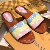 LV Slippers Louis Vuitton Sandals Prinrt Gradient Colorful Shoes Blue yellow pink