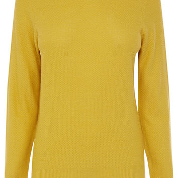 Knitwear | Yellow Faux Leather Collar Jumper | Oasis