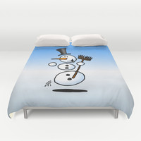 Dancing snowman Duvet Cover by Cardvibes