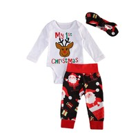 3Pcs Set Cute My first Christmas Newborn Baby Girls Cotton Clothes Boys Lomng Sleeve Romper Tops Legging Pants Headbands Outfits