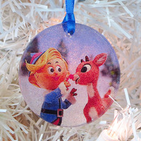 Hermey and Rudolph glass and glitter ornament