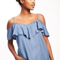 Relaxed Off-the-Shoulder Tencel® Top for Women   Old Navy