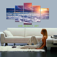 5 Panel Canvas Art Sunset Beach Waves Modern Home Wall Decor Picture HD Print Painting On Canvas Decorative Pictures