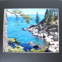 """Blue Wall Decor for Home or Office,  Photographic Art, 8"""" x 10"""" signed, 11"""" x 14"""" black mat, frame-ready"""