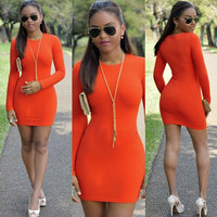 Women's Fashion Winter Long Sleeve High Rise Sexy One Piece Dress [4919587332]