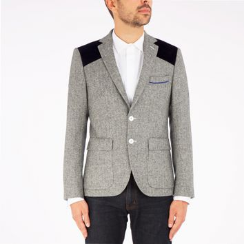 Tweed jacket with blue inserts V1