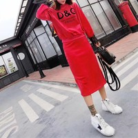 d g women casual fashion letter print lace stitching long sleeve sweater skirt set two piece