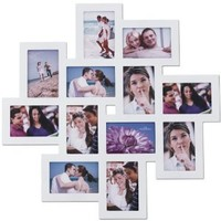 Adeco [PF0205] Decorative White Wood Wall Hanging Collage Puzzle Picture Photo Frame, 12 Openings, 4x6 inches