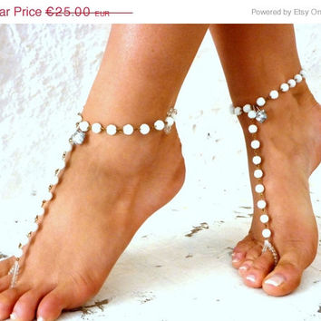 PROMO SALE Barefoot Sandal Silver Foot Jewelry Anklet Bridesmaids. white crystal anklet,  bride shoes, wedding shoes, crystal barefoot sanda