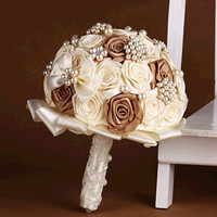 handmade Wedding bouquet lace flower silk pearl diamond Bride Hands Holding Rose Flower Wedding Bridal Bridesmaid Flower
