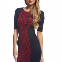 Black and Red Contrast Print Knit Bodycon Dress