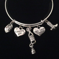 Country Girl Here Comes Trouble Tequila Expandable Charm Bracelet Silver Adjustable Bangle Gift