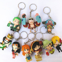 9pcs set One Piece Zoro Frank Luffy Brook Chopper Robin Nami Sanji Anime Keychain Collectible Action Figure PVC Collection toys