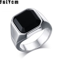 New Noble And Luxurious Black Onyx Silver Stainless Steel Male Ring Men Jewelry Punk Simple Fashion Mens Signet Rings