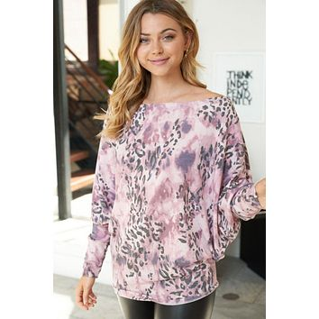 That's Wild Dust Rose Animal Print Off The Shoulder Top