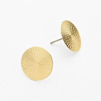 Round Stud Earrings Gold Textured