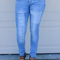 SZ 7 Rooftop Party Patch Work Skinny Jeans