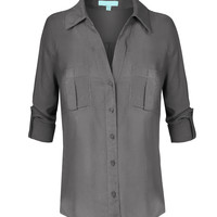 LE3NO Womens Lightweight Loose Long Sleeve Blouse Top (CLEARANCE)