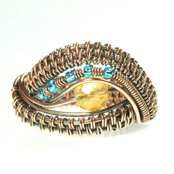 Citrine Ring, Copper Wire Wrapped, Evil Eye Ring, Woven, One of a Kind, Statement Jewelry, Citrine and Blue, Size 8, Unisex, Womens