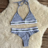 Reworked Calvin Klein Intimate Triangle Bra and Thong Panties