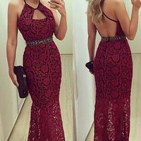 2016 Free Shiping Elegant Halter Burgundy Mermaid Prom Dresses Sexy Backless Lace Applique Evening Gowns Homecoming Dress VB010