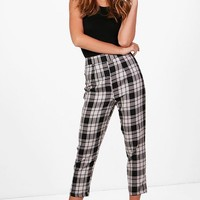 Nicole Woven Large Check Slim Fit Trousers   Boohoo