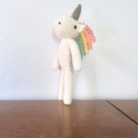 Unicorn Plush Toy - Crochet Amigurumi Animal - Stuffed Animals - Rainbow Unicorn - Nursery Decor - Crocheted Kawaii Unicorn Toy