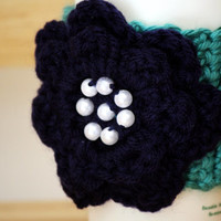 Teal with Navy Blue Flower Cup Cozy
