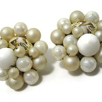 Japan Vintage Cluster Earrings White and Light Golden AB Beaded Gold Tone Round Clip on Mid Century Womens Mod Jewelry