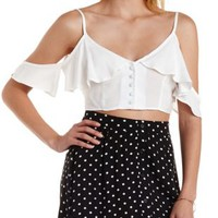 Ivory Button-Up Cold Shoulder Crop Top by Charlotte Russe