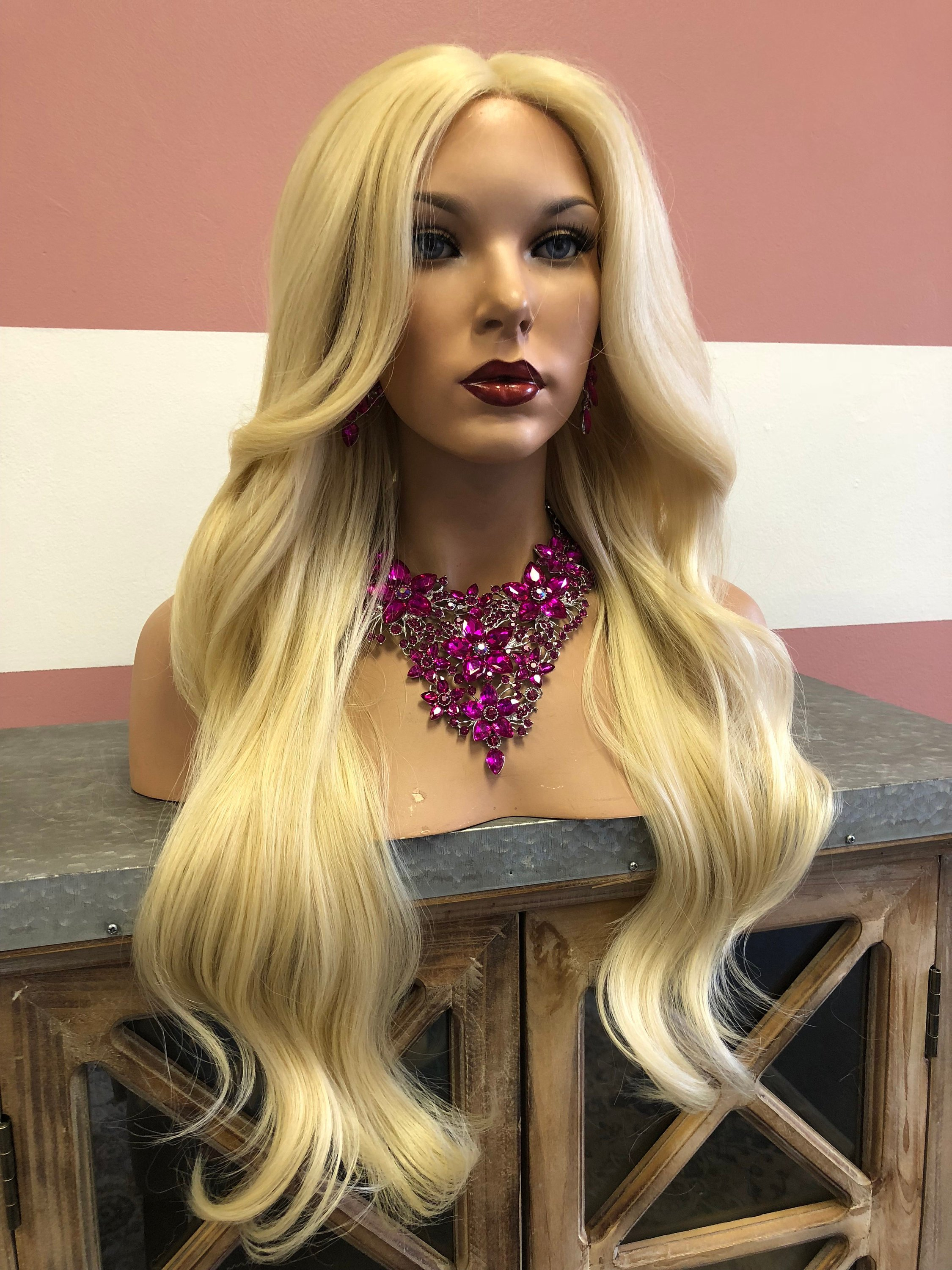 Image of Long Blond lace front wig | Large Barrel Curls | Layered Bangs |Fortunate|  51839