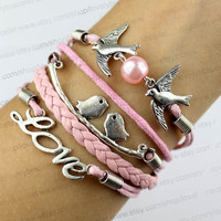 Pink pearl birds, the branches of the love birds, rorty bracelet love romance, wax rope woven pink bracelet, best gift