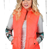 Quinn Quilted Vest - Neon Pink