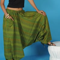 Mens Harem Pants Baggy Genie Fisherman man Pants Trouser jumpsuit Yoga Boho Gypsy Indian women Green Loose Pants